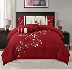 Chezmoi Collection 7-piece Red Floral Hibiscus Embroidery Be
