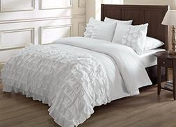 Chezmoi Collection Ella 3-piece Ruffle Duvet Cover Set