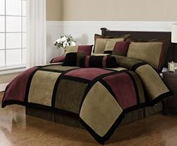Chezmoi Collection Micro Suede Patchwork 7-Piece Comforter S