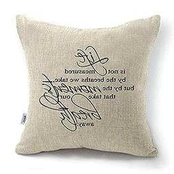 CoolDream 18 Inch Quote Words Square Decorative Cotton Linen