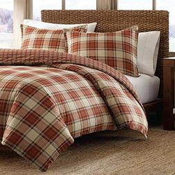 Eddie Bauer Edgewood Plaid Duvet Cover Set, Full/Queen, Red