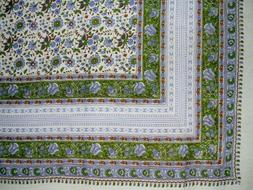 """Floral Print Indian Tapestry Cotton Bedspread 108"""" x 88"""" Ful"""