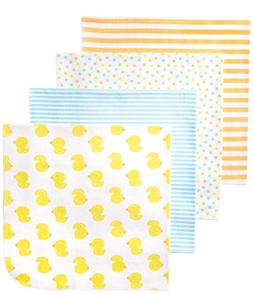 Gerber Unisex-Baby Newborn 4 Pack Neutral Flannel Blanket- D