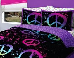 Girl Black Pink Purple Peace Sign Queen Comforter Set