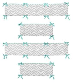 Gray and Turquoise Blue Zig Zag Collection Crib Bumper by Sw