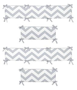 Gray and White Chevron Collection Crib Bumper by Sweet Jojo