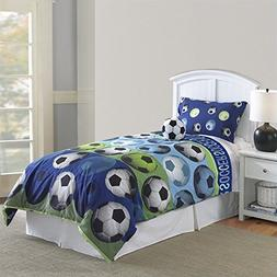 Hallmart Kids 64015 4-Piece Soccer Comforter Set, Full, 4-Pi