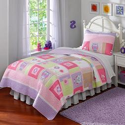 Happy Owls Twin Quilt with Pillow Sham