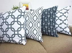 Howarmer Canvas Cotton Cushion Cover, Geometric Pattern, 18