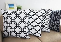 Howarmer Canvas Cotton Throw Pillows Cover for Couch Black a