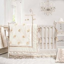 Juliette White, Ivory and Gold 4 Piece Baby Crib Bedding Set