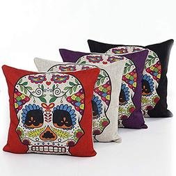 L&J.ART 4 PCS 18'' Retro Colorful Floral Mexican Day of the