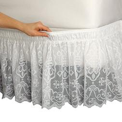 Lace Trimmed Elastic Bed Wrap, Easy Fit, Dust Ruffle Bedskir