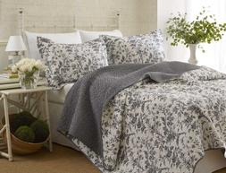 Laura Ashley Amberley Quilt Set, Black , Full/Queen