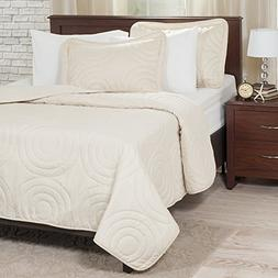Lavish Home Solid Embossed 3 Piece Quilt Set - King - Ivory