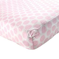 Luvable Friends Fitted Flannel Crib Sheet, Pink Fuzzy Dots