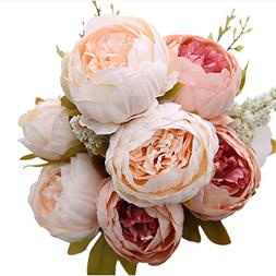 Luyue Vintage Artificial Peony Silk Flowers Bouquet Home Wed