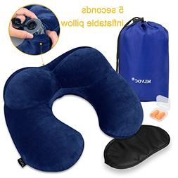 MLVOC Inflatable Neck Pillow with Ear Plugs, Eye Mask and Dr