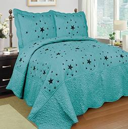 Mk Collection Turquise 3 Pc Bedspread Coverlet Embroiderey W