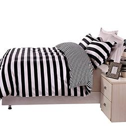 NTBAY 3 Pieces Duvet Cover Set Black and White Stripe Printe