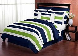 Navy Blue Lime Green and White Childrens, Kids, Teen 3 Piece