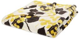 Northpoint Seville Printed Velvet Plush Throw, Yellow Vines