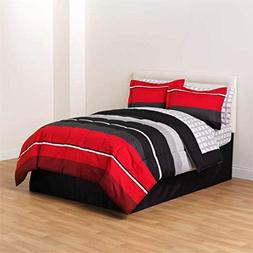 Red Black White Gray Rugby Boys Twin Comforter, Skirt and Sh