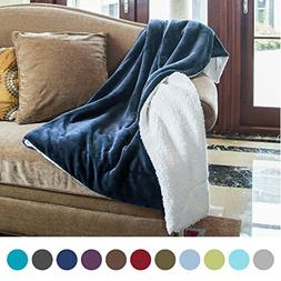 Bedsure Sherpa Throw Blanket Navy Blue Twin Size Reversible