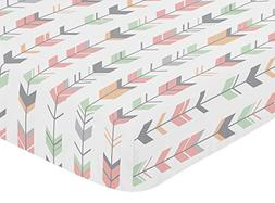Sweet Jojo Designs Fitted Crib Sheet for Grey, Coral and Min