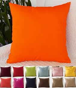 """TangDepot Cotton Solid Throw Pillow Covers, 18"""" x 18"""" , Oran"""