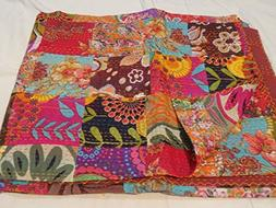 Tribal Asian Textiles Floral Kantha Blanket Quilted Throws,r