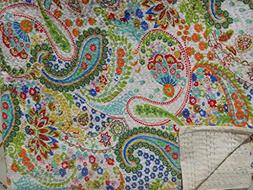 White Printed Paisley Kantha Quilt, Indian Cotton Bedspread,