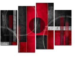 Wieco Art Large 4 Piece Red and Black with Circles Modern Ab