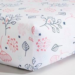 Woven Fitted Crib Sheet - Navy n' Pink Flowers - Circo™