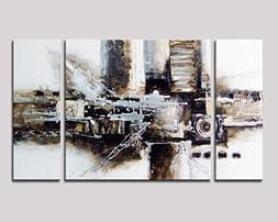 Noah Art-Black and White Abstract Art, 100% Hand Painted Abs