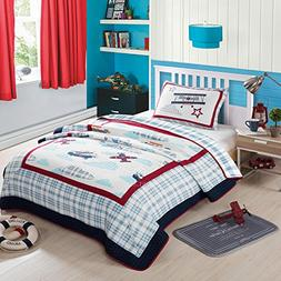 NEWLAKE Airplane Bedding Quilt Sets-2 Pieces of Bedspread Co