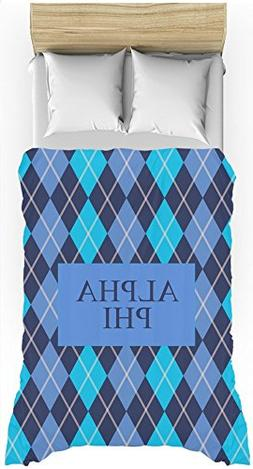 Alpha Phi  Argyle Pattern Blue Lines Lightweight Duvet Cover