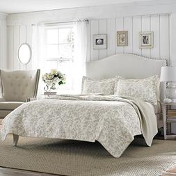 Laura Ashley Amberley Bisquit Reversible Quilt Set, Full/Que