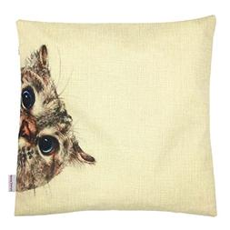 YOUR SMILE Animal Cotton Linen Square Decorative Throw Pillo