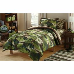 Boys Comforter Set Army Kids Twin Bed in a Bag 5 Pcs Bedding