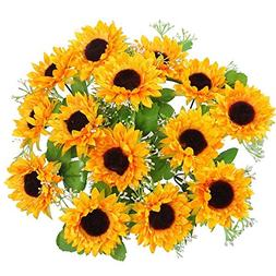 AmyHomie Artificial Flowers, Silk Sunflowers, 2 bunches/Pack