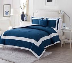 Queen Size Comforter Set in Blue Classic Two Tone 4 Pc Set w