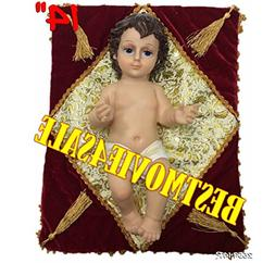 """Baby Jesus 14"""" Inch W/ Red Pillow-Nino Dios 14"""" Inches C/Alm"""