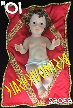 """Baby Jesus 10"""" Inch W/ Red Pillow-Nino Dios 10"""" Inches C/ Al"""