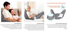 Backrest Reading Pillow with Arm Support, Removable Cover fo