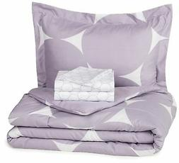 5-Piece Bed-In-A-Bag - Twin/Twin Extra-Long, Purple Mod Dot
