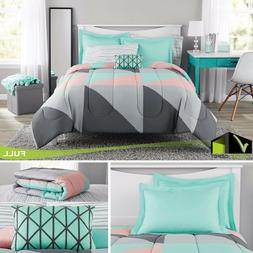 Bed-In-A-Bag Multi Geo QUEEN SIZE Bedding Set COMFORTER SHEE