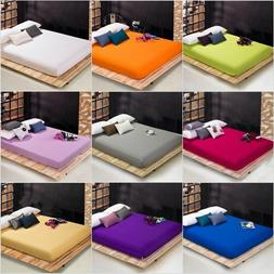 Bed Fitted Sheet Cotton Pillowcase Deep Pocket Solid Color T