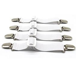 Bed Sheet Clips Straps Suspenders White Adjustable Corner Ho