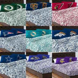 NFL Bed Sheet Pillowcase Set - Football Team Name Anthem Bed